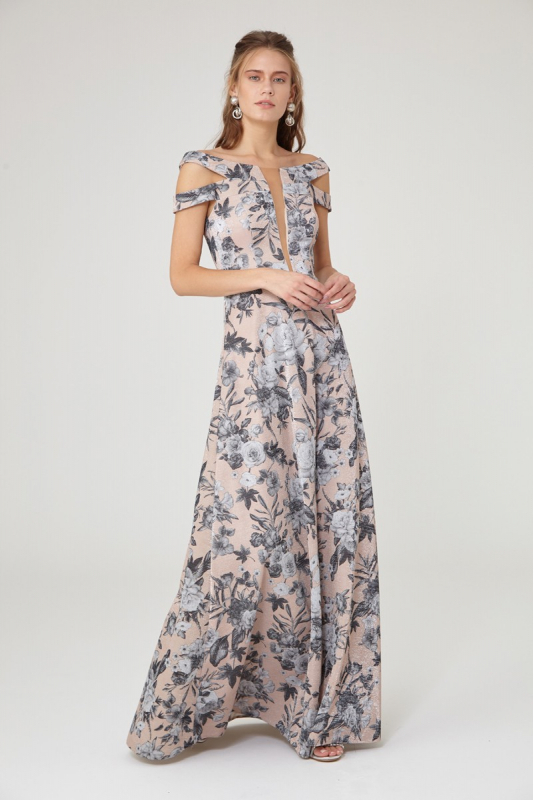 Print y08 knitted sleeveless maxi dress