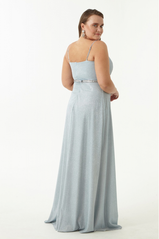 Blue plus size velvet 13 sleeveless maxi dress