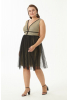 Gold plus size velvet 13 sleeveless mini dress