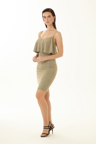 Gold velvet 13 sleeveless mini dress