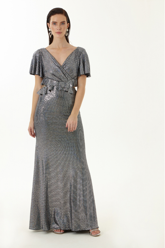 Silver sequined short sleeve maxi dress