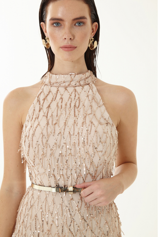 Gold sequined sleeveless mini overall