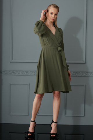 Khaki crepe long sleeve mini dress
