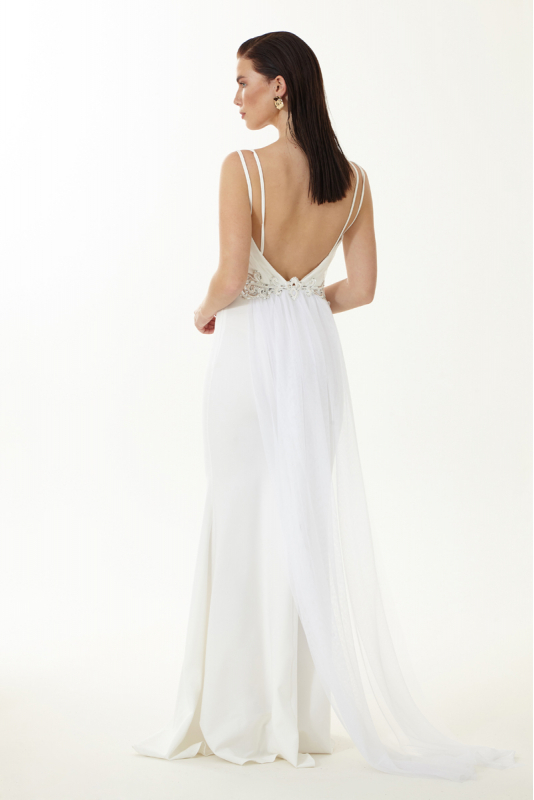 White crepe sleeveless maxi dress