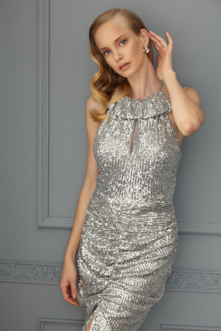 Silver sequined sleeveless midi dress