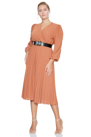 Tile plus size crepe long sleeve midi dress