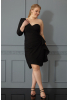 Black plus size crepe single sleeve mini dress