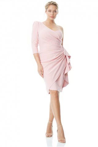 Powder plus size crepe single sleeve mini dress
