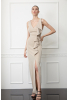 Beige velvet 13 sleeveless maxi dress