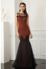 Brown crepe sleeveless maxi dress