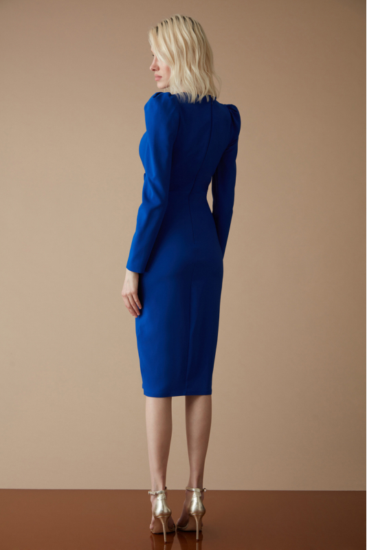 Blue crepe long sleeve midi dress