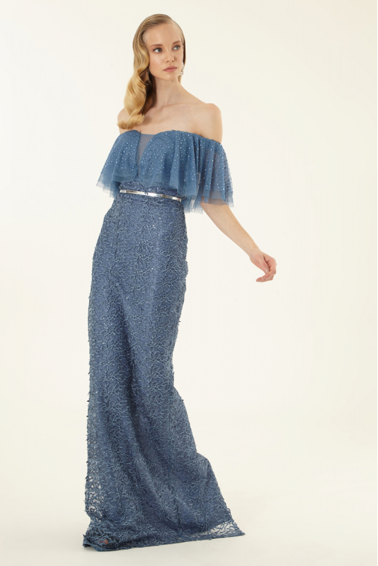 Blue lace strapless maxi dress