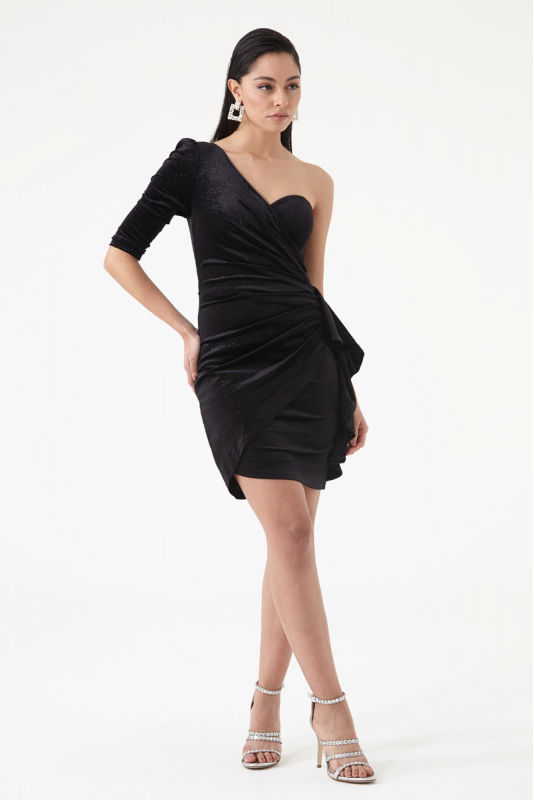 Black velvet single sleeve mini dress