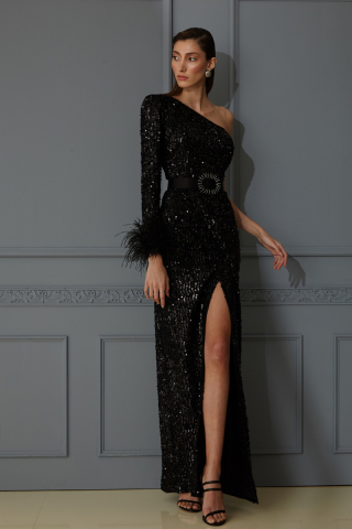 Black sequined single sleeve maxi dress