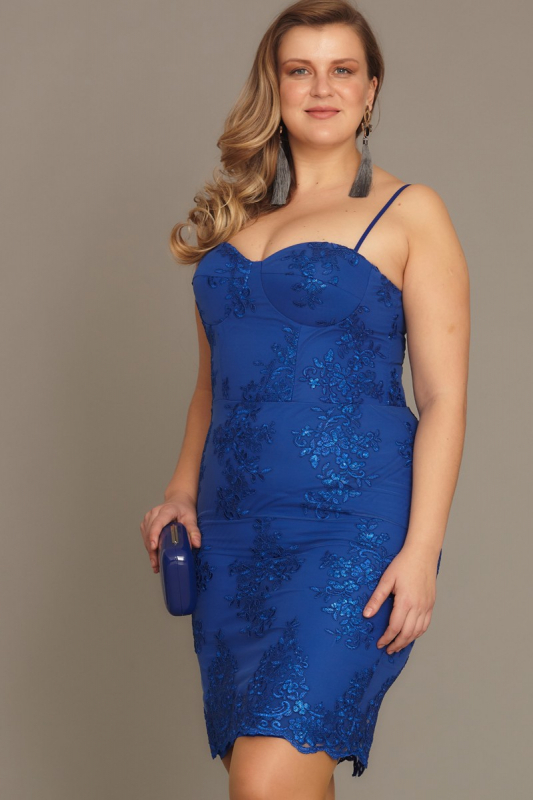 Sax plus size sequined sleeveless midi dress