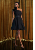 Black tulle single sleeve mini dress