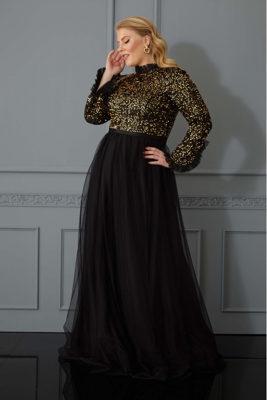 Gold plus size sequined long sleeve maxi dress