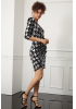 Print y63 sequined crepe single sleeve mini dress