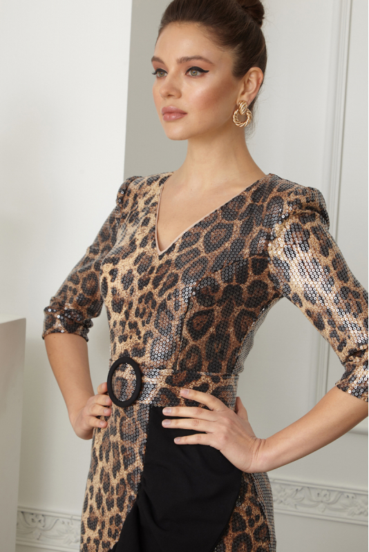 Leopard sequined long sleeve mini dress