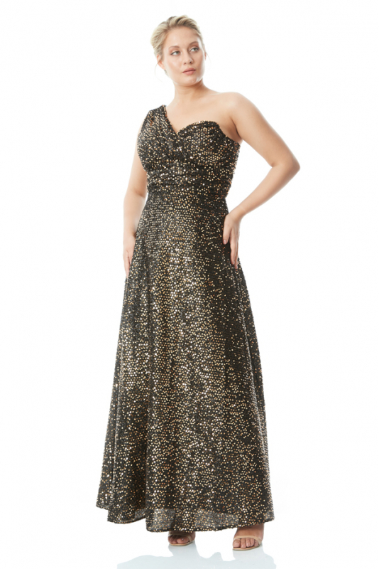Gold plus size sequined single sleeve maxi dress