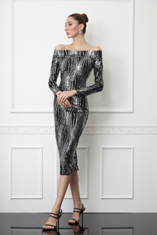 Print y61 sequined long sleeve midi dress