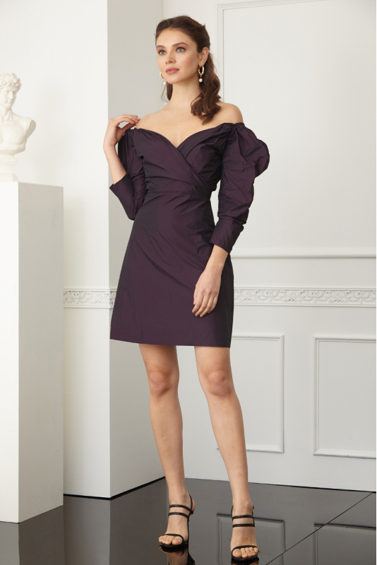 Purple satin long sleeve mini dress