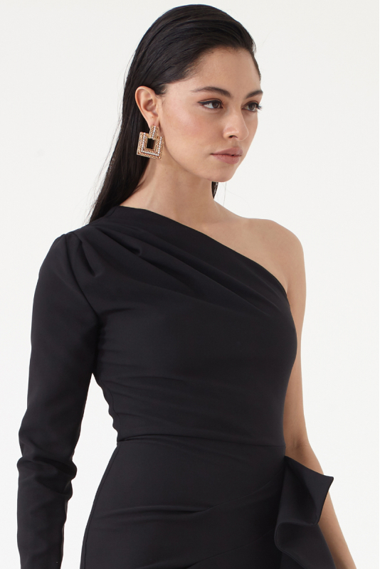 Black crepe single sleeve midi dress