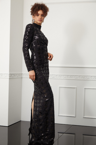 Print y56 sequined crepe single sleeve maxi dress