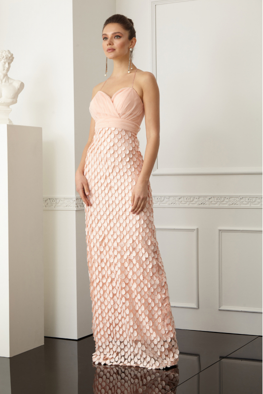 Powder lace sleeveless maxi dress