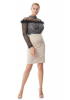 Beige plus size crepe long sleeve mini dress