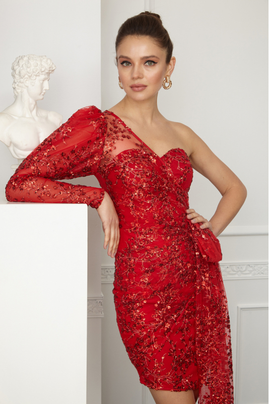 Red sequined mini dress