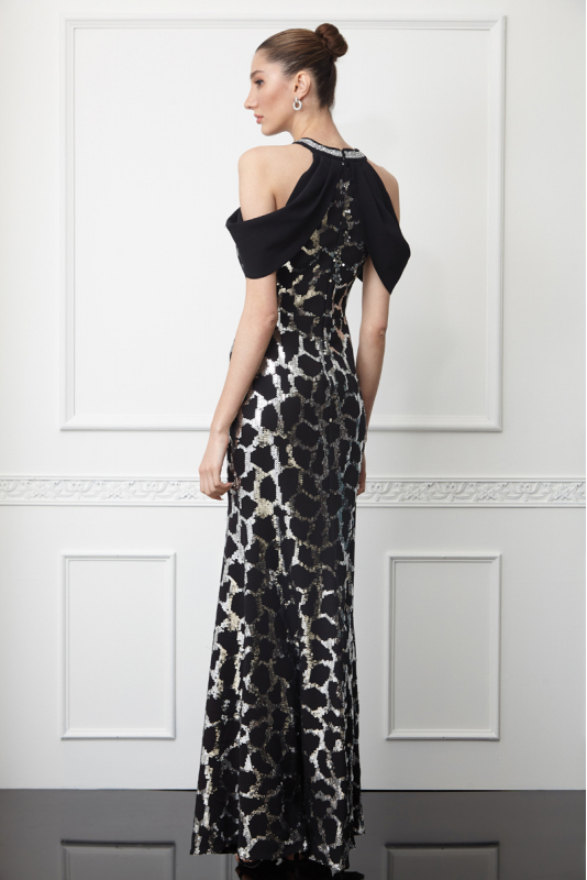 Print y62 sequined crepe sleeveless maxi dress