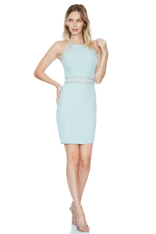 Mint green crepe sleeveless midi dress