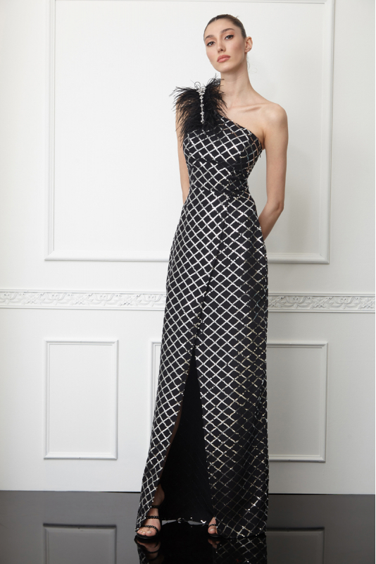 Printy57 sequined crepe single sleeve maxi dress
