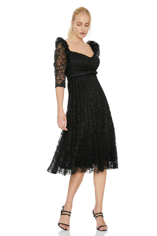 Black lace 3/4 sleeve midi dress