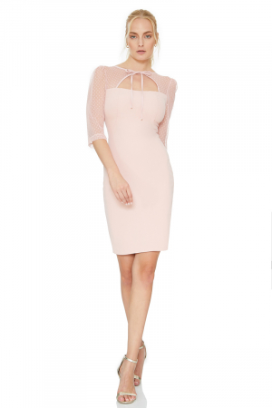 Light pink lace 3/4 sleeve dress