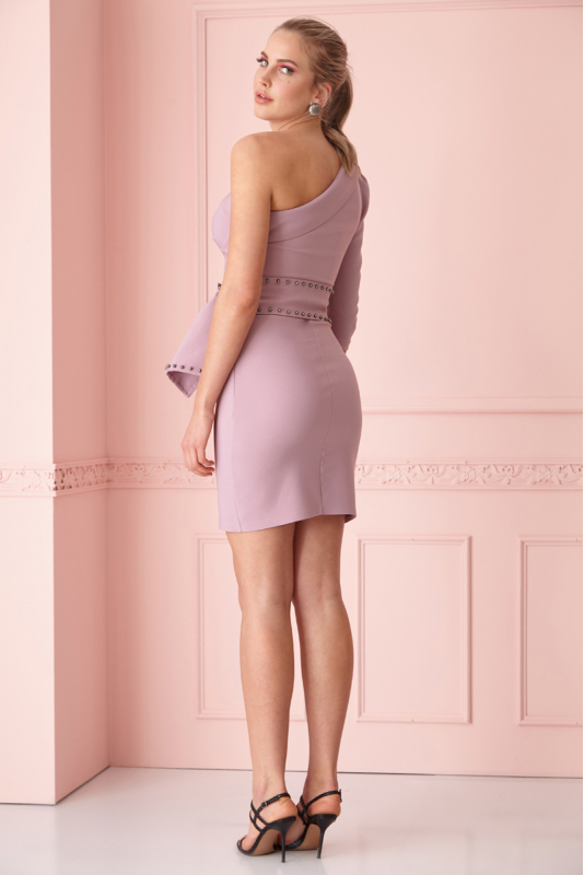 Lilac crepe single sleeve mini dress