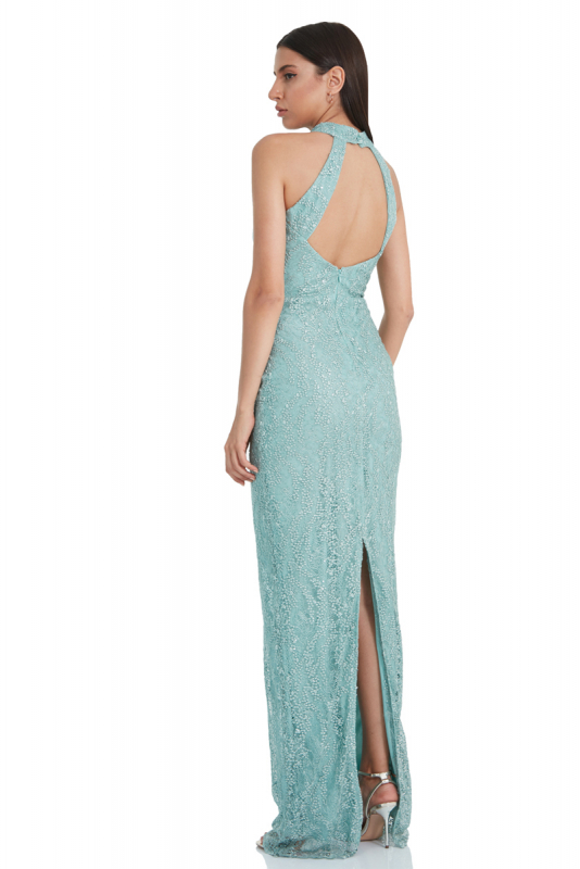 Mint green lace sleeveless maxi dress