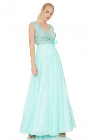 Mint green tulle maxi dress