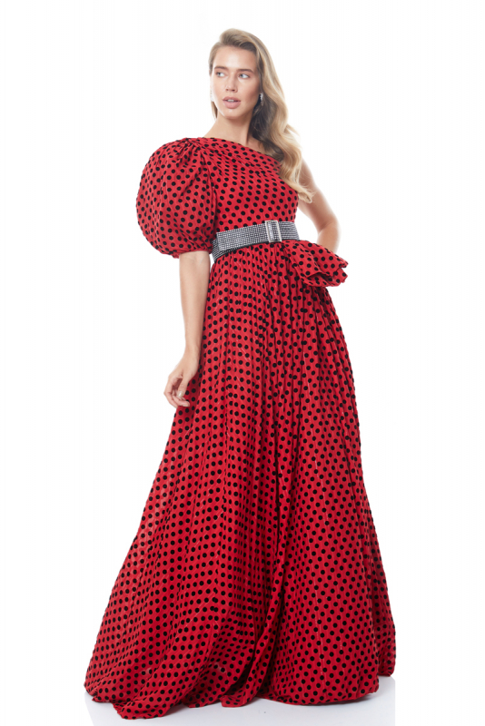 Red tulle single sleeve maxi dress
