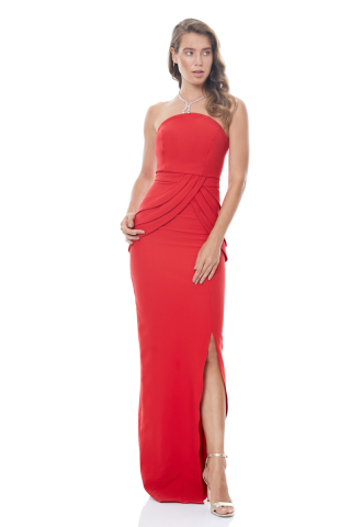 Red crepe strapless maxi dress