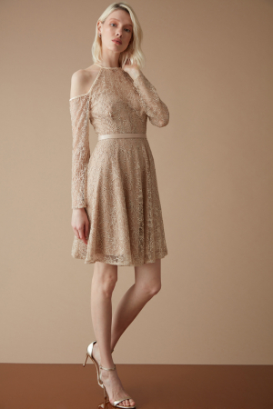 Beige lace sleeveless mini dress