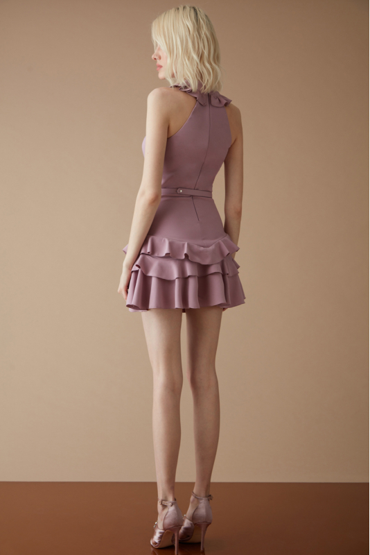 Lilac crepe sleeveless mini dress