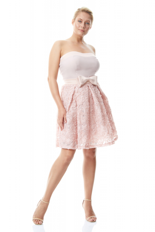 Powder plus size crepe strapless mini dress