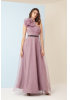 Print y78 tulle single sleeve maxi dress