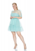 Mint green plus size tulle long sleeve mini dress