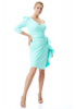 Water green plus size crepe single sleeve mini dress