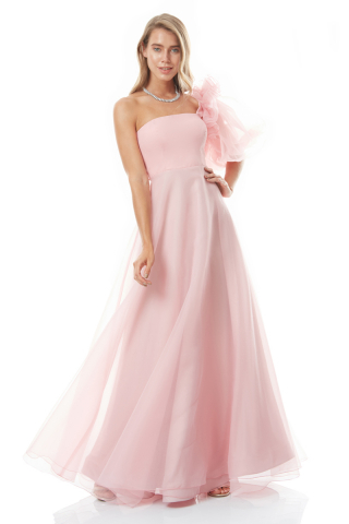 Powder tulle single sleeve maxi dress