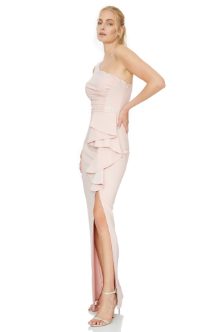Light pink crepe sleeveless maxi dress