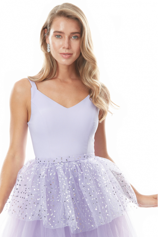Lilac sequined crepe sleeveless midi dress